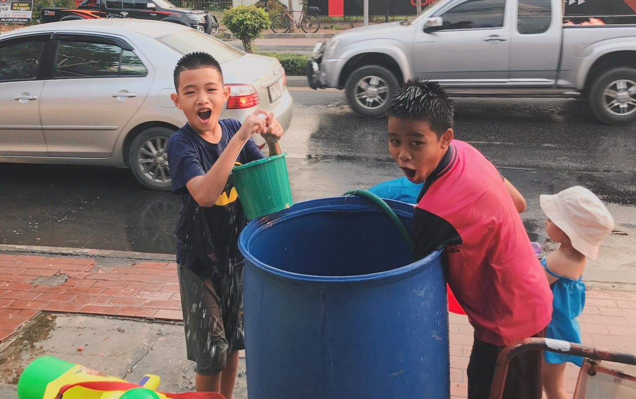 Children Playing Songkran Fun